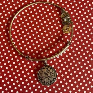 Alex and Ani Mom bangle in silver with flower